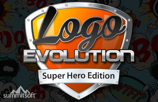 Super Hero Logo Evolution slide