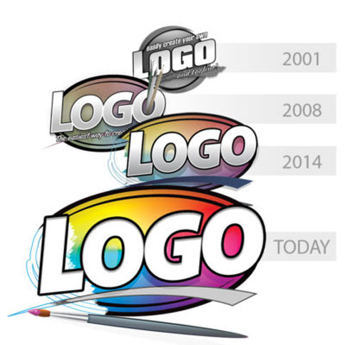 This image shows the history of the Logo Design Studio Pro
